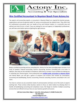 Hire Certified Accountant In Boynton Beach From Actony Inc