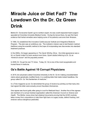 Miracle Juice or Diet Fad? The Lowdown On the Dr. Oz Green Drink
