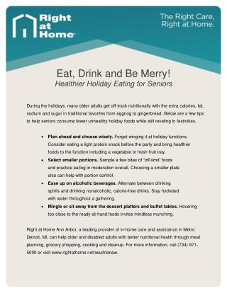 Eating Healthy During the Holidays - Tips for Seniors from Ann Arbor Senior Care Company