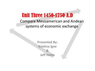 Unit Three 1450-1750 A.D Compare Mesoamerican and Andean systems of economic exchange
