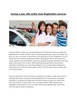 Auto Registration Services without a long queue