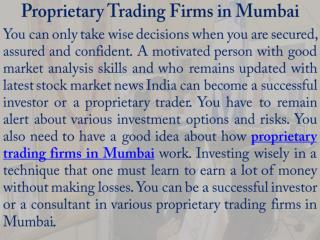 Proprietary Trading Firms in Mumbai