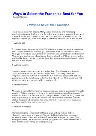 Ways to Select the Franchise Best for You