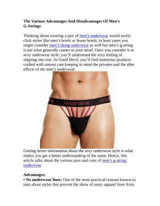 The Various Advantages And Disadvantages Of Men's G-Strings