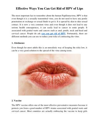 Effective Ways You Can Get Rid of HPV of Lips