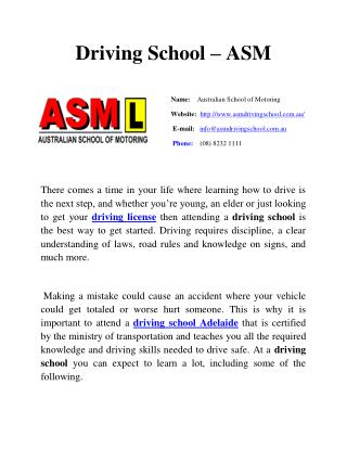 Driving School - ASM