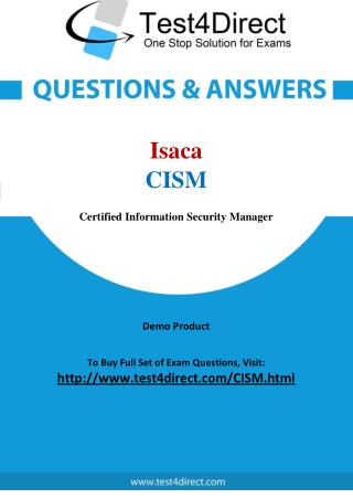Isaca CISM Exam - Updated Questions