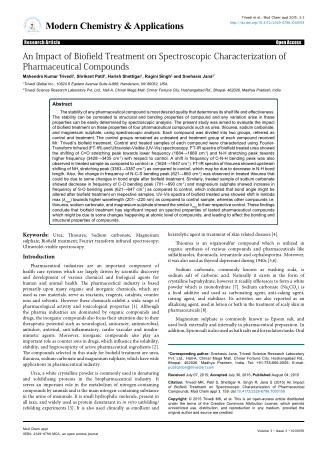 Trivedi Effect An Impact of Biofield Treatment on Spectroscopic Characterization of Pharmaceutical Compounds
