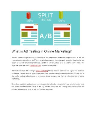 What is AB Testing in Inbound / Online Marketing?
