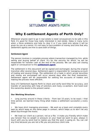 Why E-settlement Agents of Perth Only?