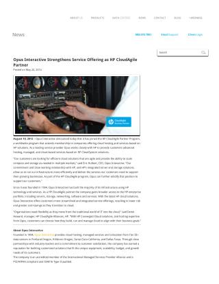 Opus Interactive Strengthens Service Offering as HP CloudAgile Partner