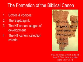 The Formation of the Biblical Canon