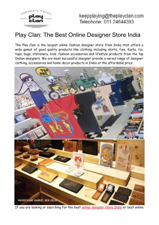 Play Clan- The Best Online Designer Store India