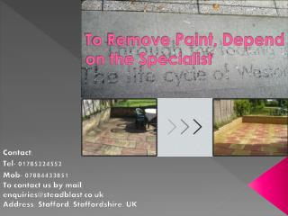 To Remove Paint, Depend on the Specialist