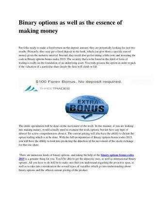 Binary options bonus codes 2015
