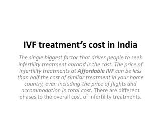 IVF treatment's cost in India