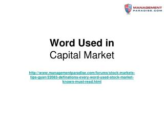 Word Used in Capital Market