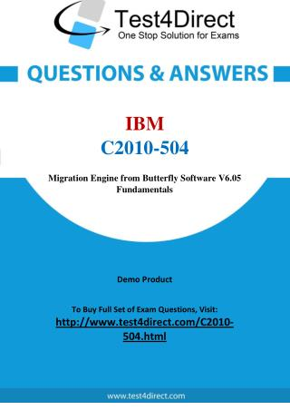 IBM C2010-504 Certified Associate Real Exam Questions