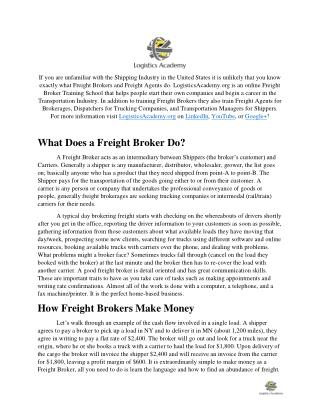 Job Description for Freight Brokers and Freight Agents  LogisticsAcademy.org