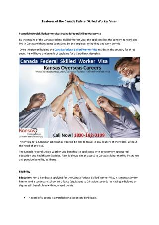 Features of the Canada Federal Skilled Worker Visa