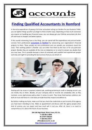 Finding Qualified Accountants In Romford