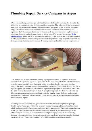Plumbing repairs aspen
