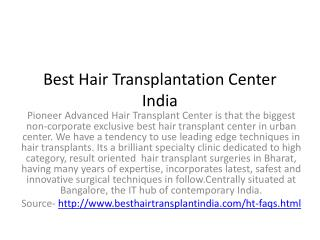 Best hair transplant center India
