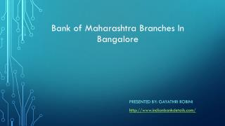 Bank of maharashtra branches bangalore Rural