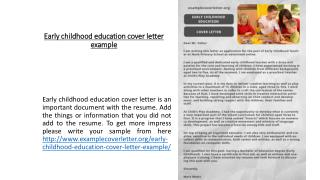 Early childhood education cover letter example