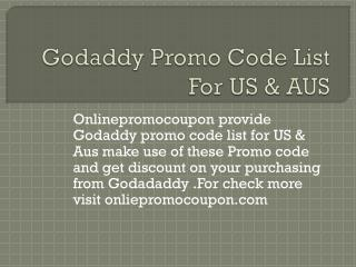 Godaddy Promo Code List For US & AUS