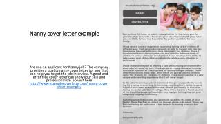 Nanny cover letter example