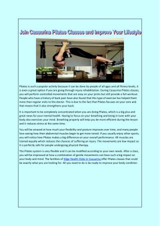 Join Casaurina Pilates Classes and Improve Your Lifestyle