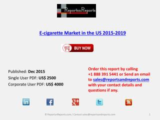 E-cigarette Market in the US Scenario & Growth Prospects 2019