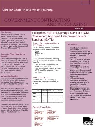 GOVERNMENT CONTRACTING 	AND PURCHASING