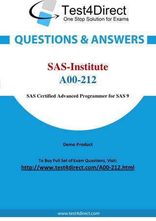 SAS Institute A00-212 Test - Updated Demo