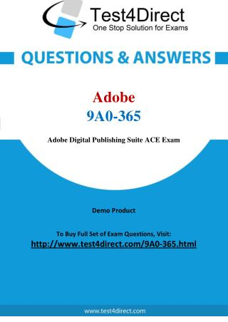 Adobe 9A0-365 Exam - Updated Questions