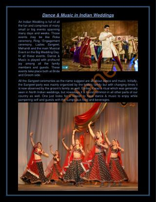 Dance & Music in Indian Wedding
