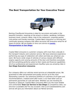 San Diego Corporate Car Service
