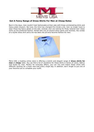 Get A Fancy Range of Dress Shirts For Men at Cheap Rates