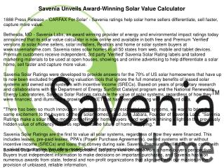 Savenia Unveils Award-Winning Solar Value Calculator