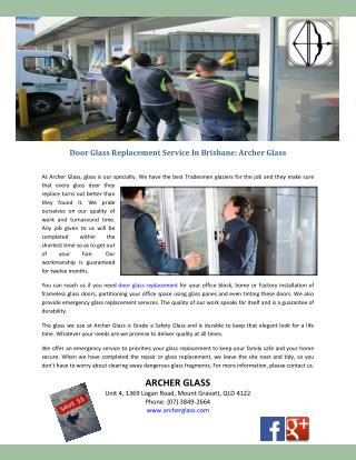 Door Glass Replacement Service In Brisbane: Archer Glass