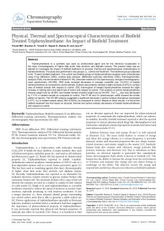 Physical, Thermal and Spectroscopical Characterization of Biofield Treated Triphenylmethane: An Impact of Biofield Treat