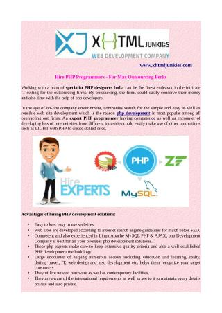 Hire PHP Programmers - For Max Outsourcing Perks
