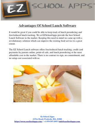 Advantages Of School Lunch Software