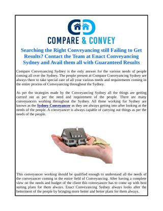 Searching the Right Conveyancing still Failing to Get Results? Contact the Team at Enact Conveyancing Sydney and Avail t