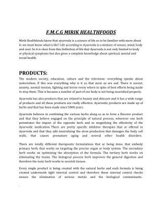 Mirik Healthfoods FMGC