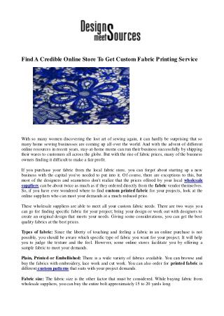 Find A Credible Online Store To Get Custom Fabric Printing Service