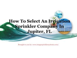 How To Select An Irrigation Sprinkler Company In Jupiter, FL