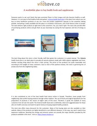 A worthwhile place to buy health foods and supplements