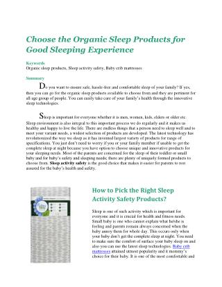 Choose the Organic Sleep Products for Good Sleeping Experience